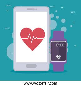 smartwatch and smartphone technology with heartbet to healthy lifestyle