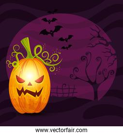 pumpkin with bats flying in scene halloween