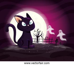 cat with ghosts mysteries in halloween scene