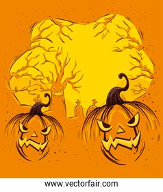 Design of halloween with pumpkins and cemetery