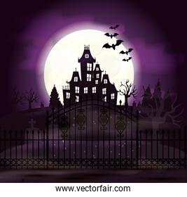 haunted castle with cemetery and icons in halloween scene