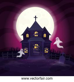 ghosts with abandoned house in halloween scene