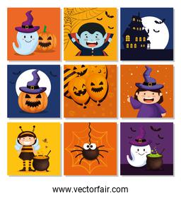 set cards with items halloween