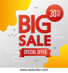 commercial label with big sale special offer lettering