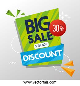 commercial label with big sale discount lettering