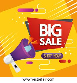 commercial label with big sale lettering and megaphone