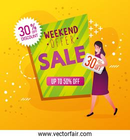 commercial label with weekend offer lettering and woman