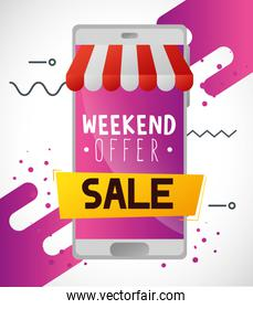 commercial label with weekend offer lettering and smartphone