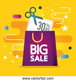 commercial label with big sale lettering and shopping bag