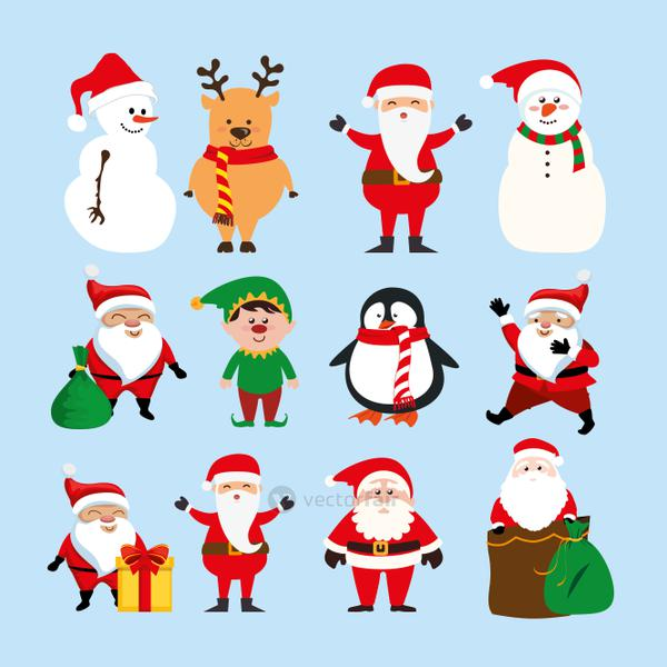 bundle christmas with santa claus and set characters