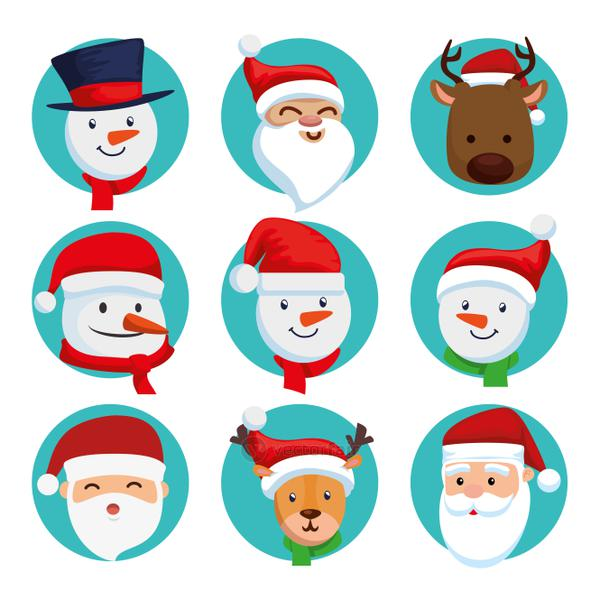 bundle christmas of faces santa claus with set characters