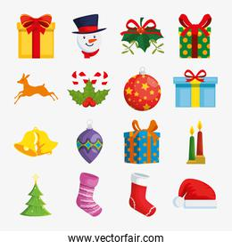 bundle decoration christmas with set icons