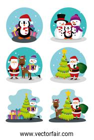 bundle christmas scenes with set icons