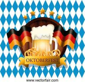 oktoberfest poster with beer and flags germany