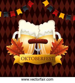 oktoberfest poster with beers and sausage