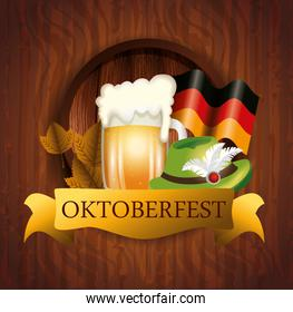 oktoberfest poster with beer and flag germany
