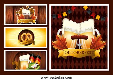 poster set of oktoberfest with decoration