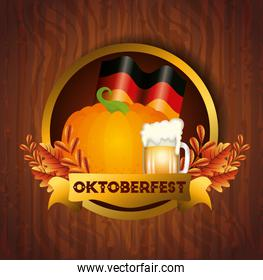 oktoberfest poster with pumpkin and decoration