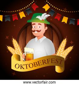 oktoberfest poster and man with beer
