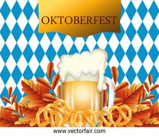 oktoberfest poster with beer and pretzel