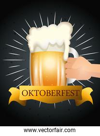 oktoberfest poster and hand with jar beer