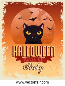 Halloween party card with cat