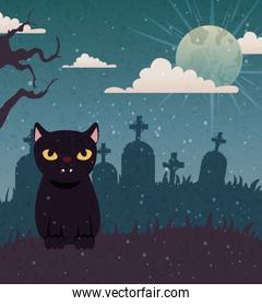 Halloween   with black cat and moon
