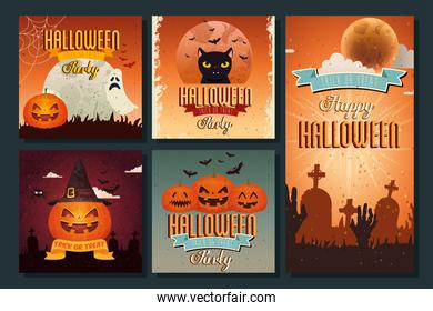 Halloween party card set design