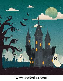 Haunted castle with cemetery and ghost in halloween scene