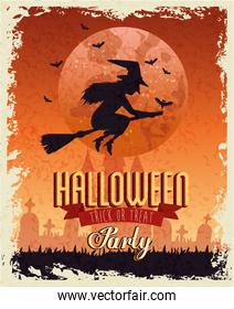 Halloween party card with witch over moon