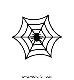 halloween spiderweb with insect isolated icon