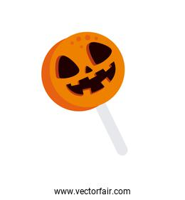 halloween pumpkin candy isolated icon