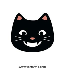 cat face of halloween isolated icon