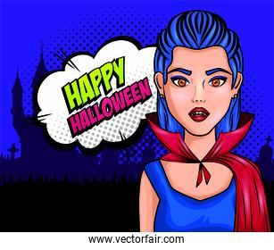 young woman disguised a vampire style pop art