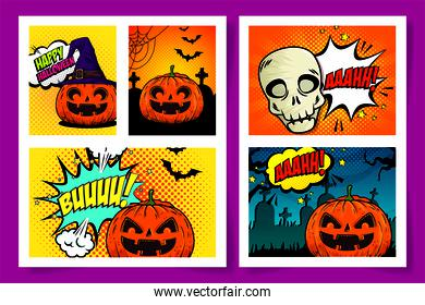 halloween poster set style pop art
