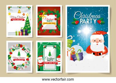 set cards merry christmas with decoration