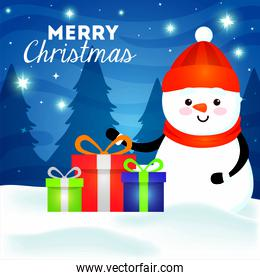 merry christmas card with snowman and gift boxes