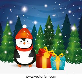 penguin with gift boxes in winter scene