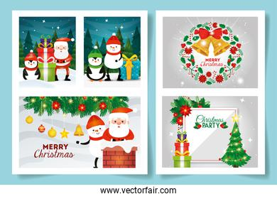 set of merry christmas cards with decoration