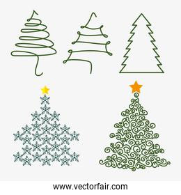 Merry christmas decorative stuffs and pine tree