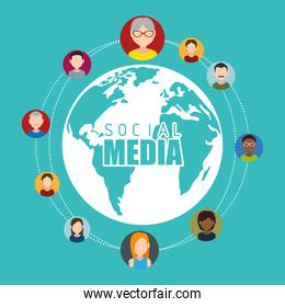 Social media design with multimedia icons