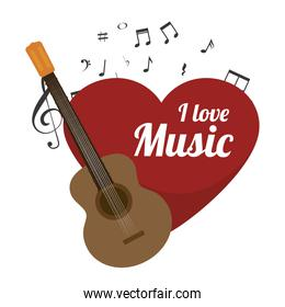 love music with guitar isolated icon design