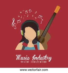 singer with microphone and guitar isolated icon design