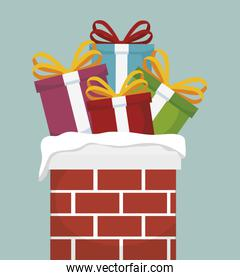 chimney with Christmas gifts isolated icon design