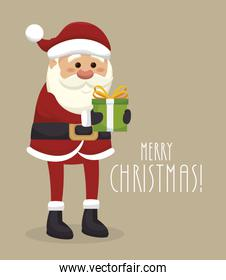 santa claus with gift isolated icon design