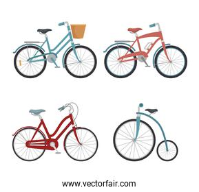 set of models of bicycles isolated icon design
