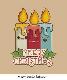 merry christmas with candles card