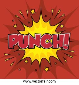 boxing punch pop art isolated