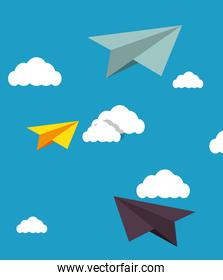human resources plane paper design isolated