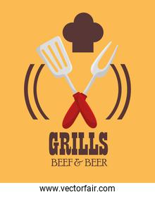 grills menu beef beer design isolated